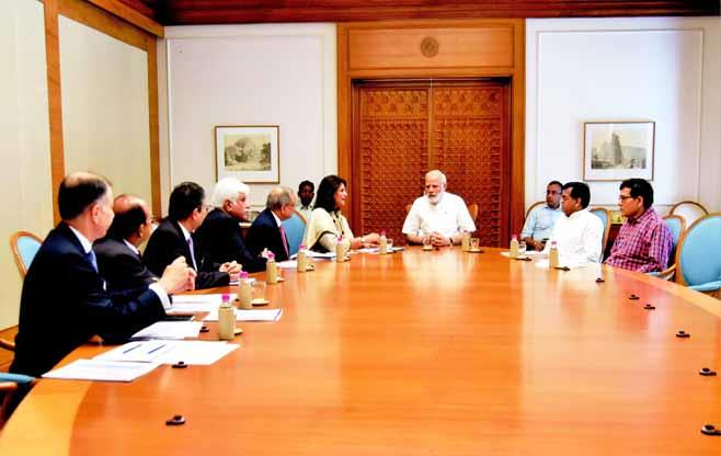 Shri Narendra Modi, Hon'ble Prime Minister meeting the CII Leadership