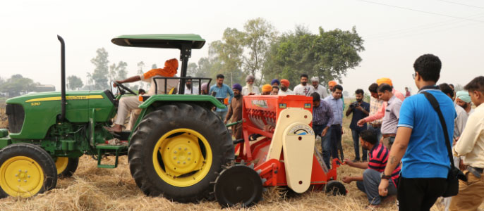 Technical training and demonstration session organised by Punjab Agricultural University for farmers for effective crop residue management