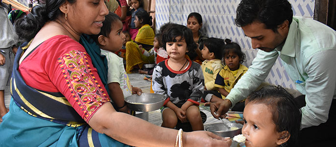Nutritional support to children at an Anganwadi Centre in Kolkata
